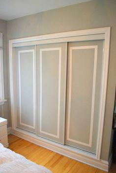 Closet Door Ideas: Add interest to plain closet doors by painting them and adding a trim detail in an accent color. Two-Tone Closet Door Tutorial. Hmm cheap way to redo our ugly closet doors Doors, Home, Painted Closet, Closet Bedroom, Sliding Closet Doors, Remodel, Closet Door Makeover, Wardrobe Doors, Closet Doors
