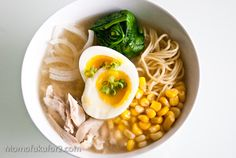 Chicken Miso Ramen Recipe  Serves 2  4 cups of chicken stock (I used some leftover chicken-ginger stock)  2 tablespoons shiro miso (white miso)  1 1/2 cups shredded chicken  1 onion, thinly sliced  1 cup of corn  1 tablespoon of butter  2 cups spinach  2 eggs  2 servings of ramen noodles