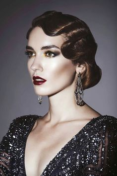 Ideas For Vintage Makeup Look Gatsby Art Deco Great Gatsby Hairstyles, Chic Hairstyles, Party Hairstyles, Unique Hairstyles, Latest Hairstyles, Vintage Hairstyles, Beautiful Hairstyles, Wedding Hairstyles, Great Gatsby Makeup