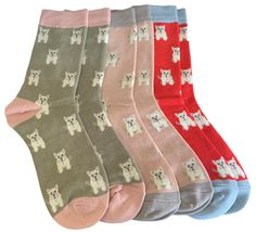 3 pair pack of ladies socks with a Westie Dog pattern.  £17.50 with FREE UK Delivery  Excellent quality, soft and stretchy bamboo / cotton blend fabric ( 54% Bamboo, 22% Cotton, 16% Polyester, 6% Nylon, 2% Elastane )  One size ( Ladies UK Shoe size 4 - 7 ) Westie Dog, Westies, Ladies Socks, Bamboo Socks, Dog Socks, Dog Pattern, Free Uk, Pink And Green, Stockings