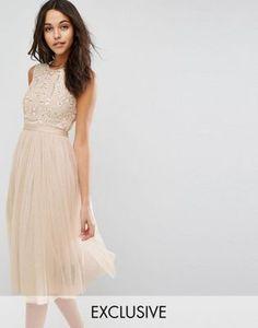 Платье миди из тюля с вышивкой Needle & Thread Prarie