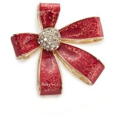 Napier Red Gold-Tone Red Bow Boxed Pin
