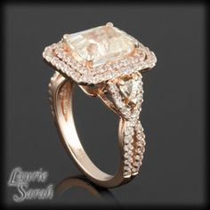 Morganite colored Asscher Cut and Trillion Cut Pink Sapphire Ring with Diamonds - LS2037. $6,255.60, via Etsy.