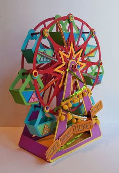 Jilliene Designing: Summer Street Carnival from Svgcuts Diy Crafts For Kids, Art For Kids, Arts And Crafts, Farris Wheel, Paper Crafts Origami, Carnival Themes, Carnival Birthday, Paper Toys, Diy Gifts