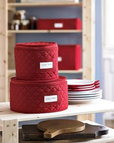 Quilted China Storage Cases #WilliamsSonoma For All The Dishes I Bought On  EBay To Match My Momu0027s And All My Christmas Dishes Still Stored In Their  Original ...