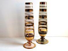 Vintage Pair of Mid Century Gold Stripe Vases, Home Decor, Office Decor, 1970s Vases, Wedding Bridal