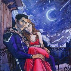 Feyre and Rhys from A Court of Thorns and Roses coloring book. A Court Of Wings And Ruin, A Court Of Mist And Fury, Charlie Bowater, Feyre And Rhysand, Sarah J Maas Books, Throne Of Glass Series, Crescent City, Look At The Stars, Fan Art
