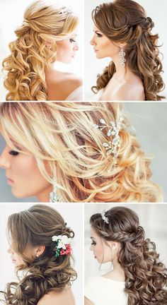 Half Up Half Down Wedding Hairstyles ❤ These elegant curly wedding hairstyles look amazing with hair accessories or on their own. See more: http://www.weddingforward.com/half-up-half-down-wedding-hairstyles-ideas/ #weddings #hairstyles