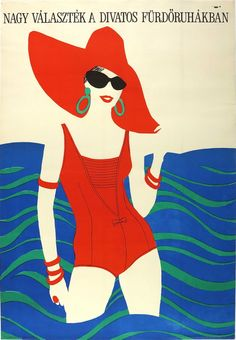 Large selection of stylish bathingsuits. Commerial poster from 1969 influenced by the pop art movement. Pop Art Posters, Illustrations And Posters, Travel Posters, Pop Art Movement, Hungary, Illustrators, Folk Art, Disney Characters, Fictional Characters