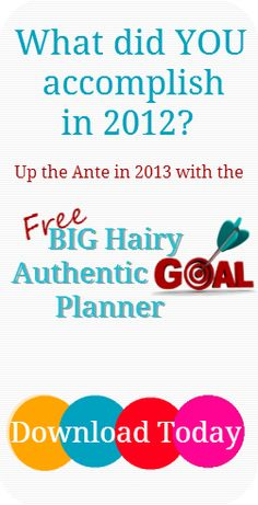 Get your goals right with the 2013 BHAG Planner. Go beyond career aspirations to Set and Achieve goals in every area of your life.