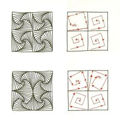 Paradox is essentially a square or triangular spiral. The… Paradox Twists & Fans. Paradox is essentially a square or triangular spiral. The…,Muster Zentangle Anleitungen Paradox Twists & Fans. Paradox is. Doodles Zentangles, Tangle Doodle, Tangle Art, Zentangle Drawings, Zen Doodle, Doodle Drawings, Doodle Art, How To Zentangle, Zentangle For Beginners
