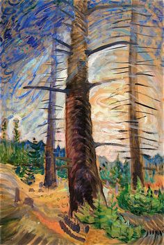 Emily Carr (Canadian, The Old Fir Tree, Oil on paper on plywood, x cm. Art Gallery of Alberta, Edmonton. via dayintonight Tom Thomson, Emily Carr, Canadian Painters, Canadian Artists, Art Gallery Of Alberta, Group Of Seven Paintings, Victoria Vancouver Island, Famous Art, Art For Art Sake