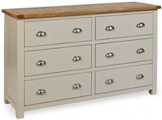 Padstow Grey Painted Chest of Drawers / 6 Drawer Solid Wood Chest / Oak Top 5060359899392 Large Chest Of Drawers, Bedroom Chest Of Drawers, 6 Drawer Chest, Drawer Handles, Chest Dresser, Furniture Making, Bedroom Furniture, Grey Painted Furniture, Drawer Storage Unit