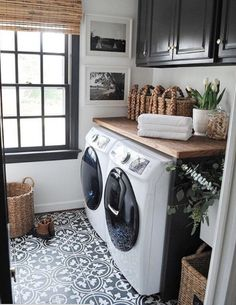 This would be awesome too with teal cabinets Storage Shelves Ideas Laundry room decor Small laundry room organization Laundry closet ideas Laundry room storage Stackable washer dryer laundry room Small laundry room makeover A Budget Sink Load Clothes
