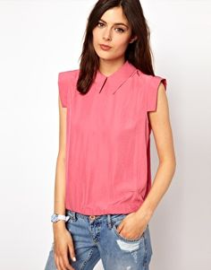 BZR Woven Shell Top with Collar