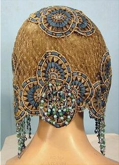 c. 1920's Flapper Headpiece with Embroidery and Bead Fringe