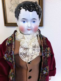 RARE Large Side Part Hair Man Antique China Head Doll Wearing Great Outfit | eBay