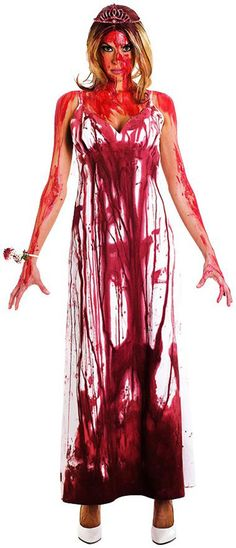 Carrie Costume = white dress from a thrift store, red dye, tiara, corsage, shoes and don't forget the blood for your skin!!