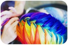 epic colorful rainbow hair pink orange yellow green blue purple braid