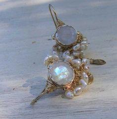 Moonstone Earrings Moonstone Goddess Earrings14K by yifatbareket, $185.00