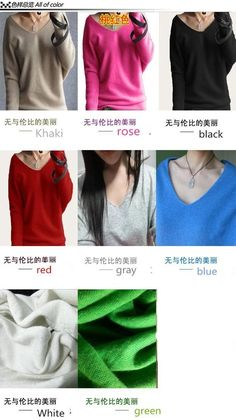 Women fashion sexy v-neck sweater loose 100% cashmere wool sweater batwing sleeve plus size pullover - Loluxe - 4