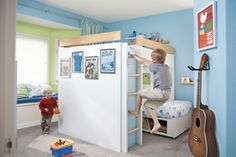 This do-it-yourself bunk bed project features a double bed on top and twin bed below with lots of storage and plenty of style.