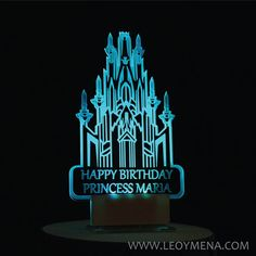 Frozen Castle Illuminated Custom Birthday Cake Adorno, Frozen Light Up Inspired Castle Cake Topper, Birthday Princess Happy Birthday Princess, Light Up, Cake Toppers, Neon Signs, Harry Potter, Etsy, Frozen Castle, Frozen Birthday Cake, Castles