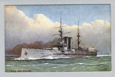 HMS New Zealand was one of three Indefatigable-class battlecruisers. Launched in 1911, the ship was funded by the government of New Zealand as a gift to Britain,[2] and she was commissioned into the Royal Navy in 1912. She had been intended for the China Station, but was released by the New Zealand government at the request of the Admiralty for service in British waters. Fought at Heligoland Bight, Dogger Bank, & Jutland. Placed in reserve in 1920 & scrapped in 1922.