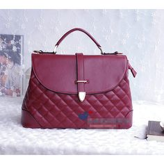 Buy Vogue Rhomb Check Luxurious Pattern Bag Wine Red with cheapest... via Polyvore