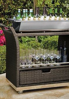 Make outdoor entertaining easier than ever with the handsome and functional Ultimate Serving Cart that holds everything from glassware to refreshments all with the convenience of a rolling cart!