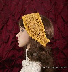 Crochet headband headwrap ear warmer honey ❤ by SandyCoastalDesigns, $15.50