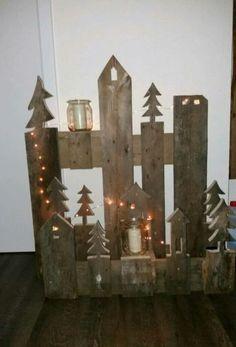 Hallo,<br /><br />Bieten hier eine Weihnachtsdeko aus alten Paletten an.<br />Handgefertigtes...,Weihnachtsdeko Deko Weihnachtsdorf Palette in Niedersachsen - Wiefelstede