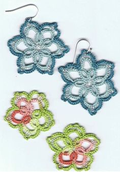 Flower Earrings tatted by Sarah Wood - requires login to see image.
