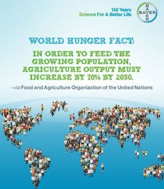 WORLD HUNGER FACT: In order to feed the growing population, agriculture output must increase by 70% by 2050. Via Food and Agriculture Organization of the United Nations (FAO)