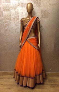 Lehenga saree/half saree in Orange purple stunning combo Half Saree Lehenga, Bridal Lehenga Choli, Saree Dress, Anarkali, Lehenga Blouse, Indian Gowns, Indian Attire, Indian Sarees, Indian Wear