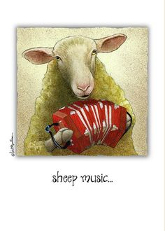 "Will Bullas Greeting Card featuring the painting ""sheep music..."" by Will Bullas"