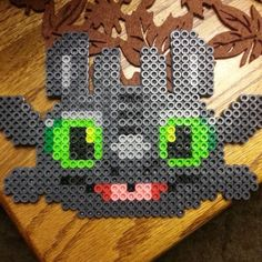 Toothless - How to train your dragon perler beads by xoxjokergirlxox