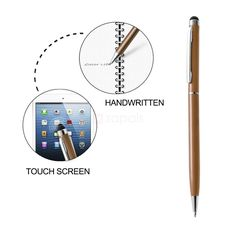 Touch Screen Capacitive Stylus with Ballpoint Pen - Gold. Now you can navigate your phone's or tablet's capacitive touch screen with this slim stylus which features a built-in ballpoint pen for dual sage. The 6mm soft rubber tip allows you to type and text accurately and comfortably, without leaving marks and scratches. The pocket clip lets you maintain easy access to the stylus in a bag or backpack.