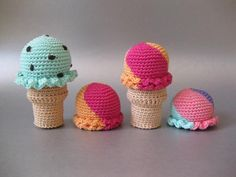 Free Crochet Ice Cream Cone pattern via the blog Norma Lynn.