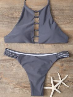 SHARE & Get it FREE | Halter Cutout Padded Bikini Set - Gray LFor Fashion Lovers only:80,000+ Items • New Arrivals Daily Join Zaful: Get YOUR $50 NOW!
