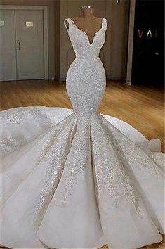 Glamorous V-Neck Lace Mermaid Bridal Gown 2019 Long Sleeveless Wedding Dress Item Code: Wedding Dresses With Straps, Wedding Dress Train, Lace Mermaid Wedding Dress, Wedding Dresses For Sale, White Wedding Dresses, Mermaid Dresses, Bridal Dresses, Lace Wedding, Detachable Wedding Dress