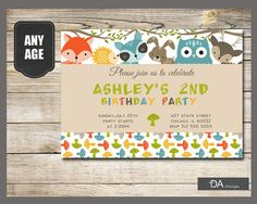 Woodland Birthday Invitation Forest Animals by TDADesign on Etsy