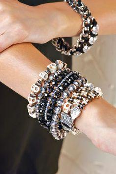 Skulls & Rhinestones Slider Bracelets - Bead Gallery® Black and White Slider Bracelet