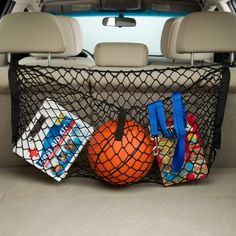 This Cargo Net is perfect! This handy cargo net is ideal for keeping grocery bags from tipping over and other trunk essentials from sliding around in the car. W x H x D Mesh netting Imported Sale Ends in 2 days 11 hours Camp Trunks, Trunk Organization, Cargo Net, Car Storage, Truck Bed, Back Seat, Sports Equipment, Camping Gear, Car Accessories