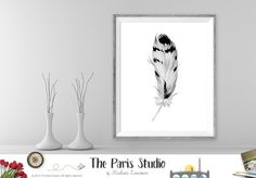 Instant Download Watercolor Feather Digital Art Print Wall Art Printable Art