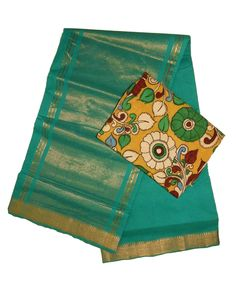 Mangalagiri Nizam saree with Penkalamkari Cotton allover blouse Price: 2050/- (For Bulk Buyers / Wholesale / Boutiques / Retail shops  for any trade inquiries Please contact Immediately our  WhatsApp No: 8801302000)