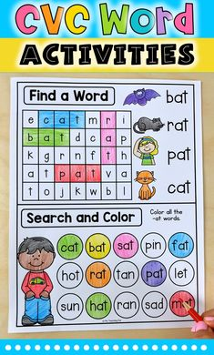Worksheets For Kindergarten, Learn To Read Kindergarten, Preschool Phonics, Learning Phonics, Vowel Worksheets, Abc Phonics, Phonics Lessons, Phonics Reading, Toddler Learning Activities
