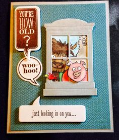 Stampin' Up! From the Herd, Just Sayin', Taylored Expressions Arched Window, Birthday Card 2015 Occasions Catalog