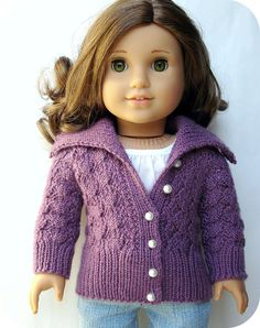 "Helena Lace Cardigan Sweater - PDF Knitting Pattern For 18"" American Girl Dolls   #doll clothes # 18 inch doll #AG   #American Girl #Gotz doll #Australian Girl #PDF knitting pattern #patterns to knit #cardigan sweater #shawl collar #lace knitting #purple #crafts #Ravelry #Etsy"