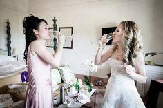 bride and bridesmaid  toast